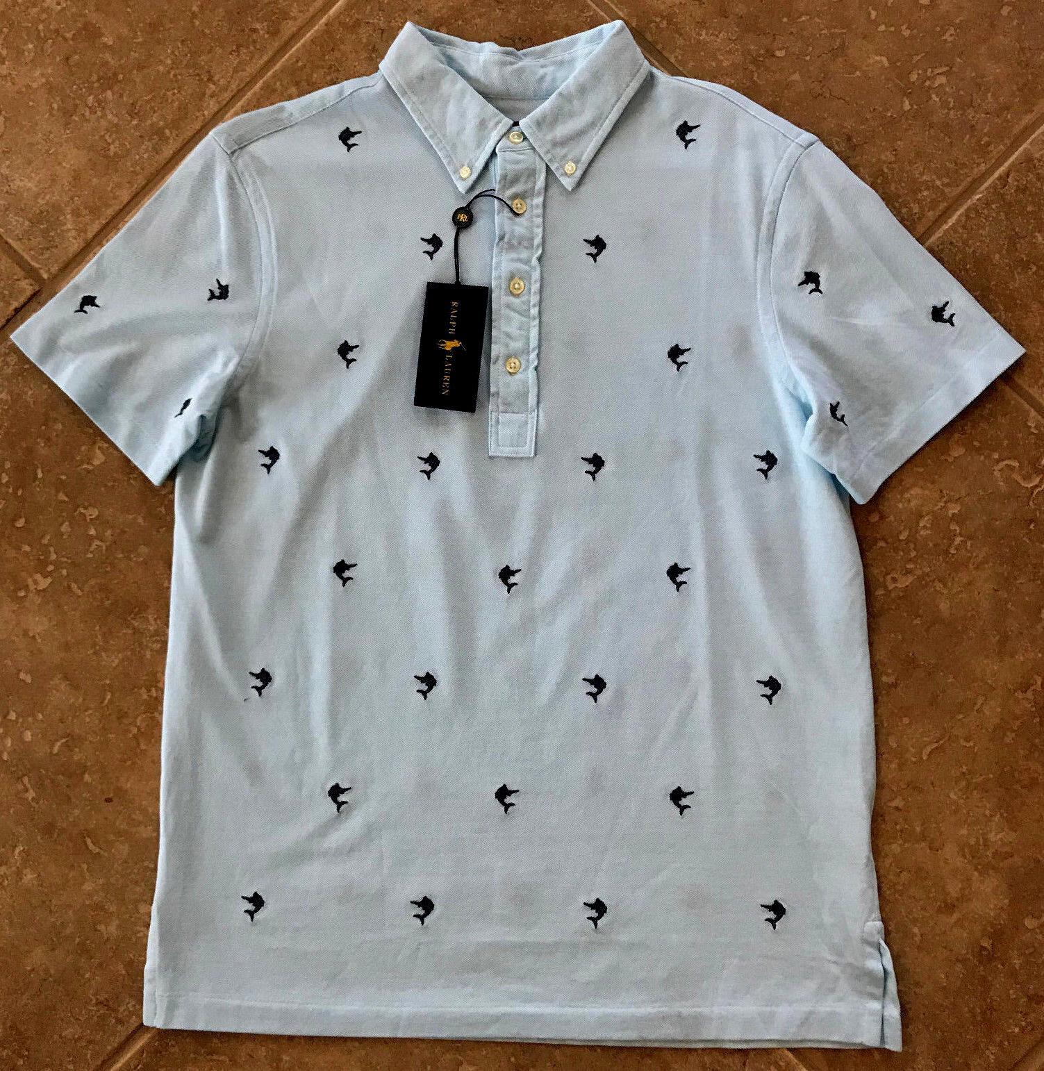 7876e3f27 Ralph Lauren Knit Oxford Polo Shirt Mens M bluee w Embroidered Marlin NWT