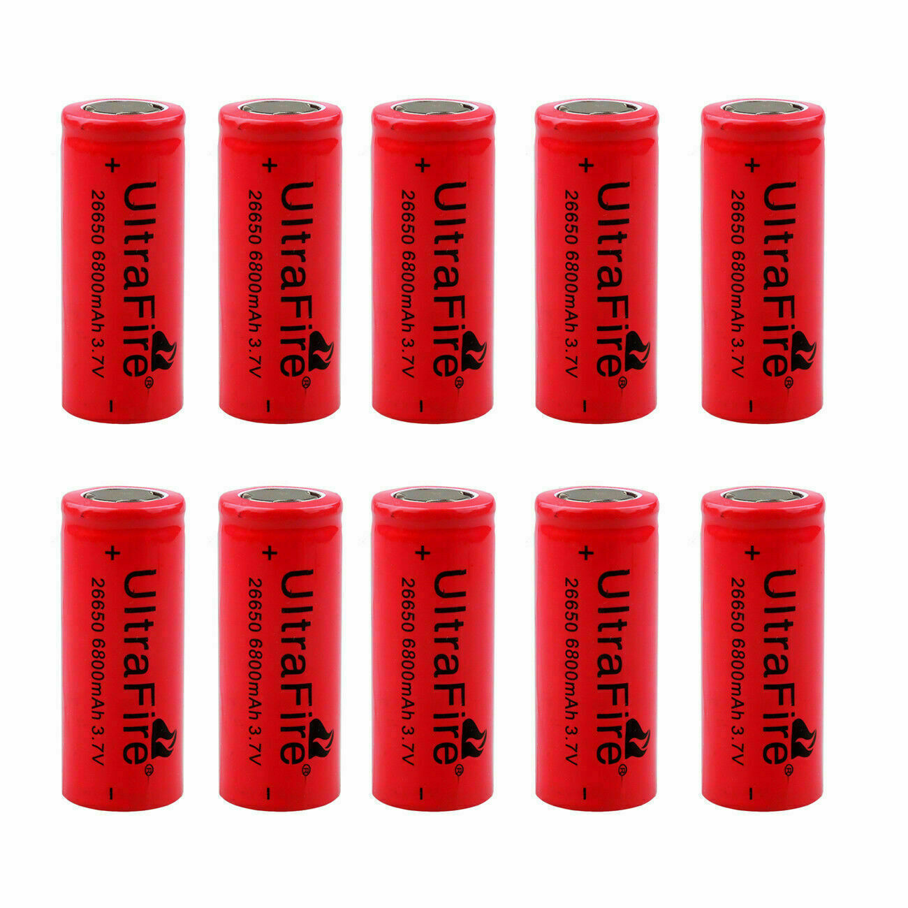 UltraFire 26650 Battery 6800mAh 3.7V Flat Top Li-ion Rechargeable Cell For Torch
