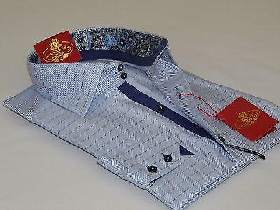 Men AXXESS Egyptian Cotton Shirt Spread High Collar European 05-809 Blue Checker