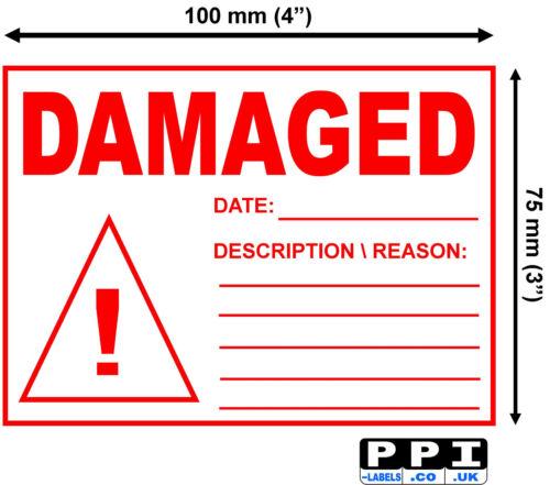Fecha de dañado Rojo Pegatinas Etiquetas de embalaje Desc almacén Rollo 100x75 WA01-Roll