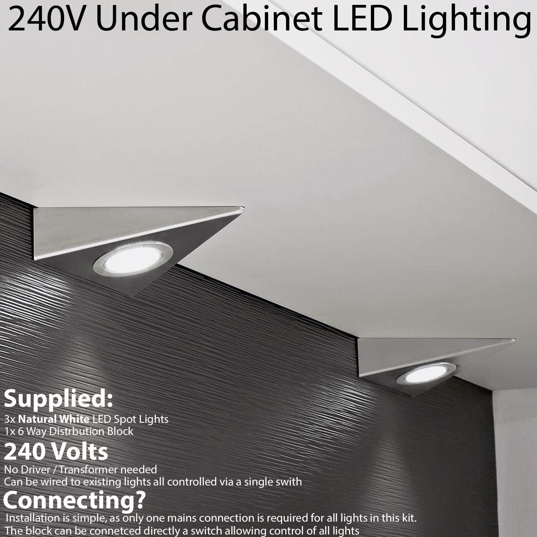 3x Led Triángulo Spotlights - 240V blancoo Natural bajo la Luz de Gabinete Cocina
