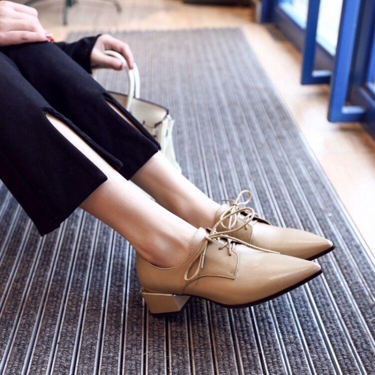 Les femmes à lacets bout pointu Block Chunky talon bas Derbies Solide UK 2.5-8.5 Chaussures
