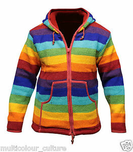 Grunge-Rainbow-Stripe-Cardigan-Men-039-s-Hippie-Jacket-Full-Fleece-Lined-Hoodie-Top