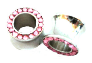 """PAIR-Grooved Black Inlay Steel Double Flare Ear Tunnels 12mm//1//2/"""" Gauge Body Jew"""