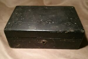 Antique-Victorian-Campaign-Box-Leather-Bound-Stationary-Writing-Slope-No-Key