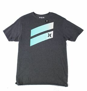 Hurley-Mens-T-Shirt-Deep-Gray-Size-XL-Crewneck-Logo-Print-Graphic-Tee-049