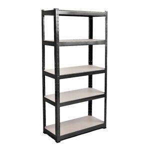 Heavy-Duty-Storage-Racking-5-Tier-Black-Shelve-Shelving-Boltless-for-Garage-Shop