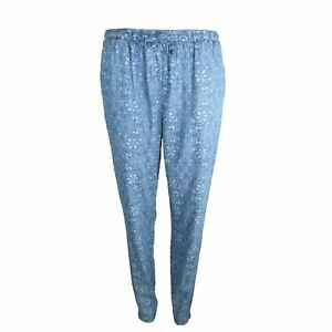 New Womens Marks /& Spencer Blue Tencel /& Cotton Trousers Size 10 Leg 29