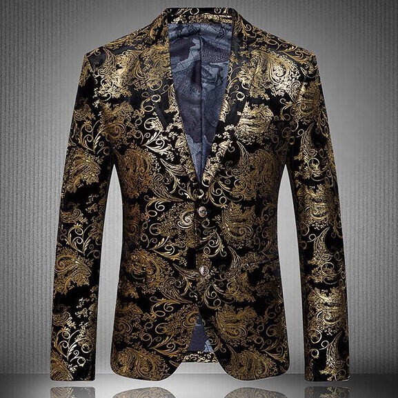 Luxury Mens Floral Lapel Slim Fit High Quality Stylish Formal Blazer Gold Coats