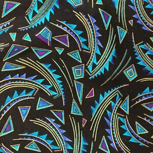 Kenta-Fabric-in-Turquoise-amp-Gold-on-Black-Quilting-Sewing-Crafts-18-x-43-034