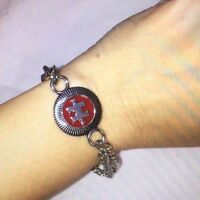 Autism Awareness Silver Piece Of The Puzzle Chain Bracelet (red)