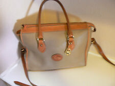 EUC VTG Dooney & Bourke All Leather Taupe Putty Satchel Dr Bag w/Shoulder Strap