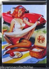 """Alfa Romeo Sexy Pinup Girl 2"""" X 3"""" Fridge / Locker Magnet. Vintage Advertising"""