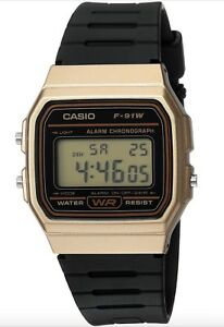 Casio-Watch-F91WM-9A-Classic-Gold-amp-Black-Resin-Square-Digital-COD-PayPal