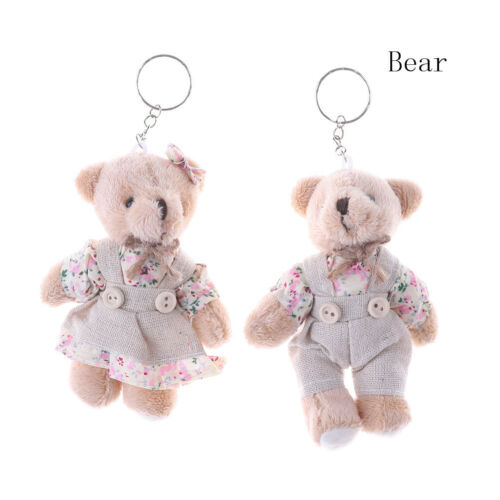 1 Pair Couple Bear Rabbit Plush Toy Floral Cloth Rabbit Bunny Doll Key Pendant,.