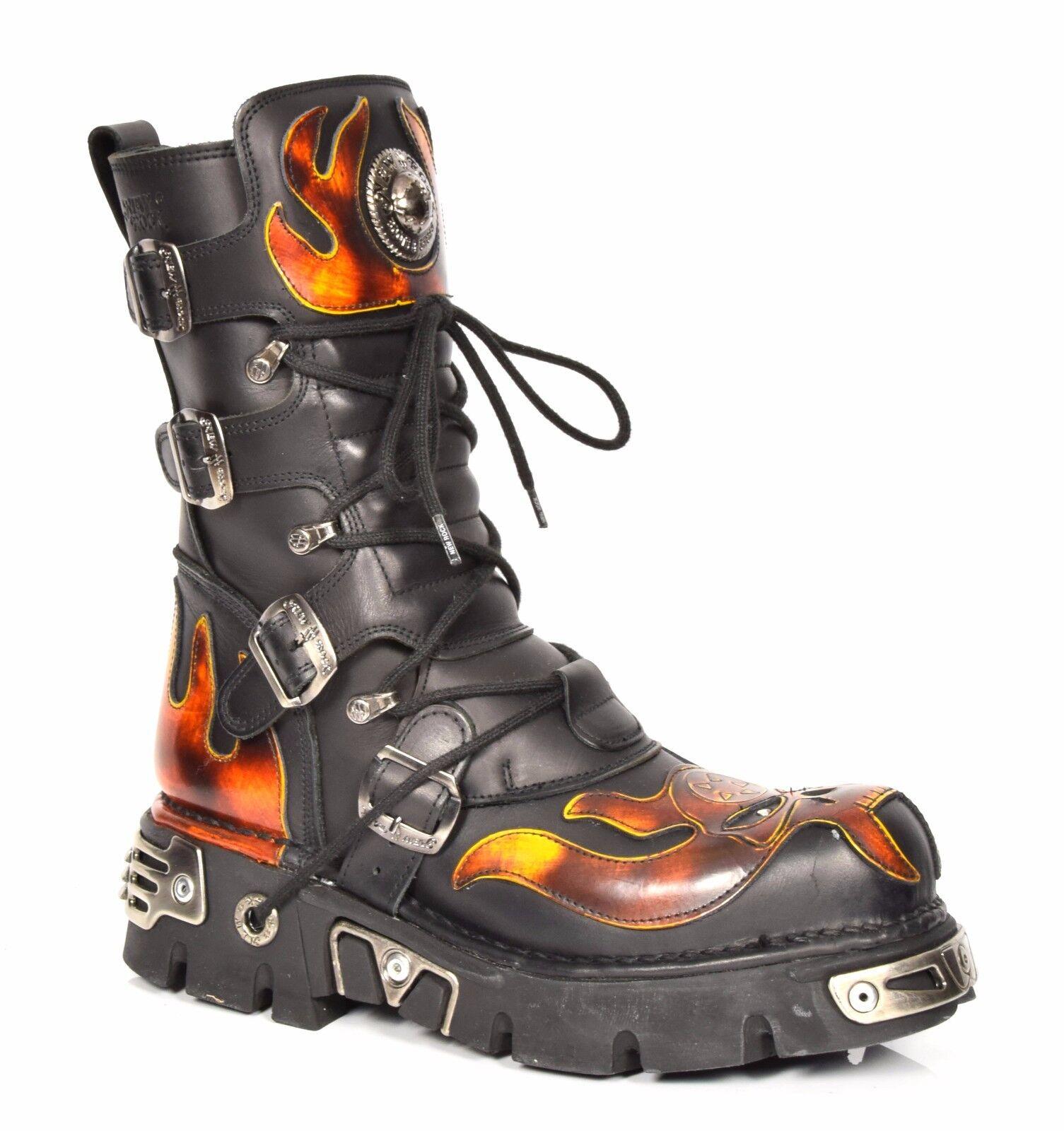 New Rock botas De Cuero Zapatos Con Cordones llama Diseño Estilo Retro Gótico negro