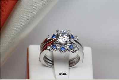 GORGEOUS WHITE & BLUE SAPPHIRE SILVER 925 LADIES ENGAGEMENT WEDDING RING SET