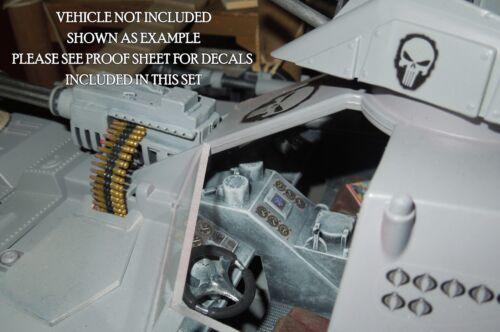 Petite échelle Punisher Logos-Action Figure Tatouages//Autocollants-Waterslide Decals