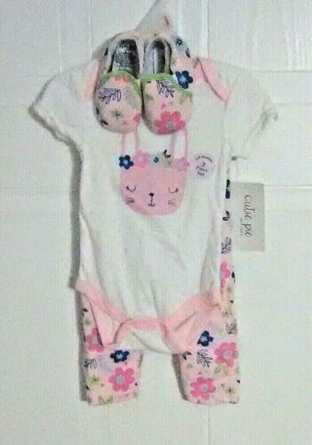 Rabbit /& Floral Print Cutie Pie Infant Girls 1-Piece 6-9M Pants /& Shoes Set