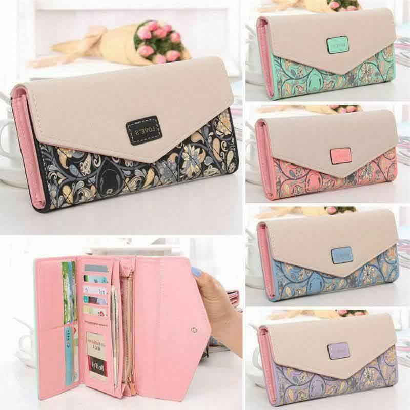 Long Bag Wallet Womens Leather Clutch Purse Ladies Card Envelope Button Handbag
