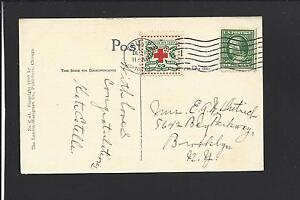 ERIE,PENNSLYVANIA GREETINGS CARD,1909, MACHINE CL TIES AMERICAN RED X SEAL VF+