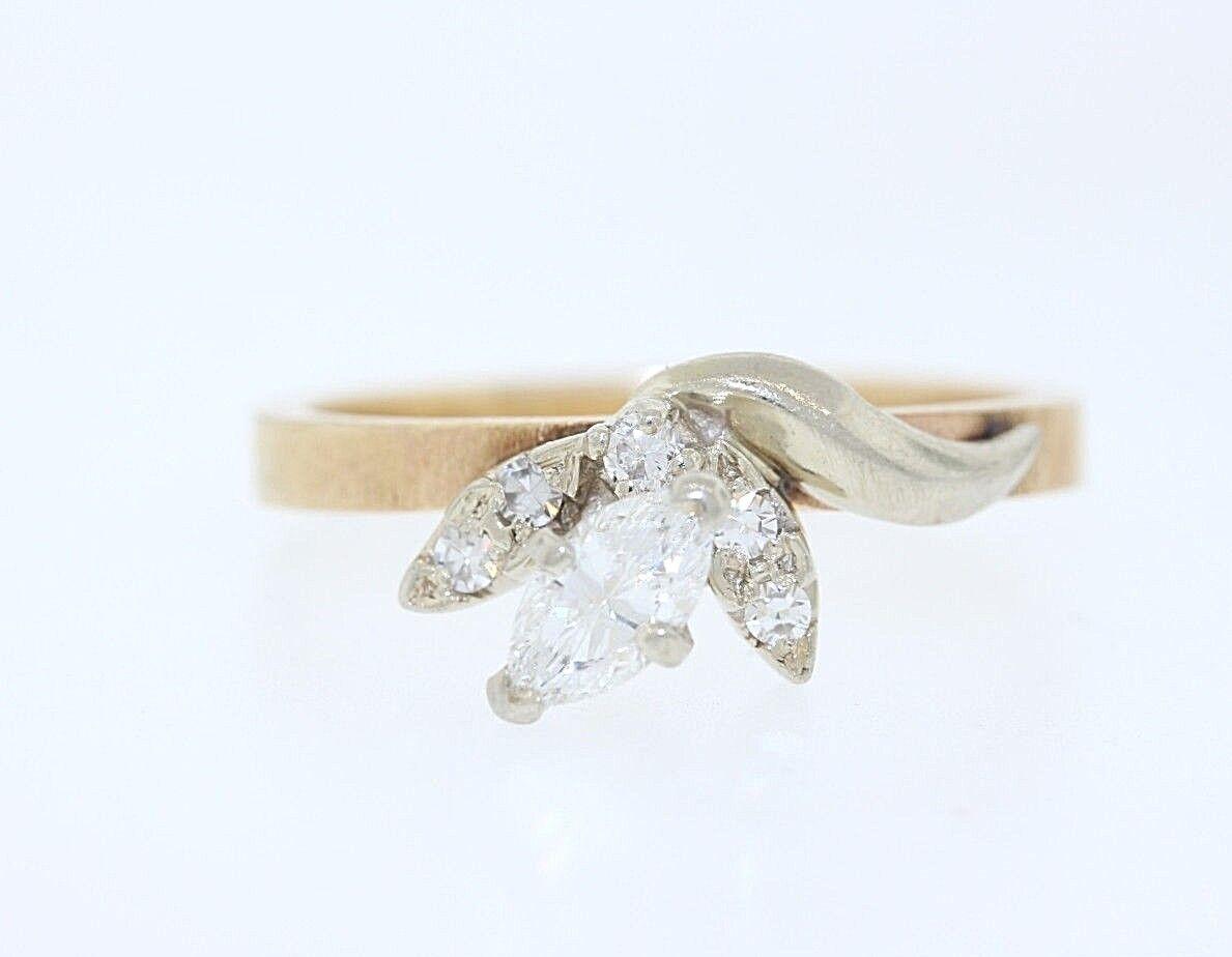 Vintage Vintage Vintage 14k oro Giallo .35ct Marquise e rossoondo Diamante Fiore Anello Foglia d697c4