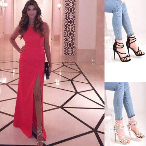 Femme Talon Haut Bride Cheville Formelle Bout Ouvert Soirée Sandale Chaussures Taille