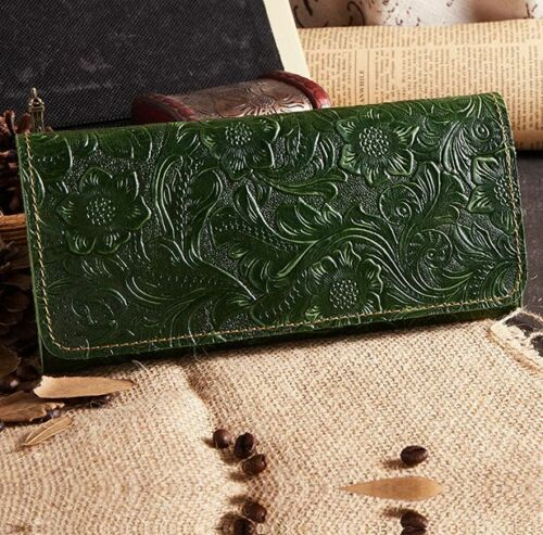 Women/'s Vintage Embossed Genuine CoW Leather Long Wallet Purse Handbag 4colors