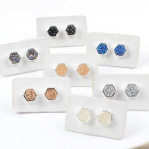 7-8mm-Silver-Rose-Gold-Plated-Bezel-Hexagon-Titanium-Real-Druzy-Studs-HOT-HZG275