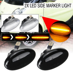 2x Dynamic Smoked LED Side Marker Indicator Signal Light For Mercedes