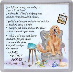 Golden-Retriever-Dog-Coaster-034-HOME-SWEET-HOME-Poem-034-Novelty-Gift-by-Starprint