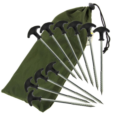 10 x NGT Heavy Duty Metal Fishing Camping Tent Bivvy Umbrella Pegs Shelter Pegs