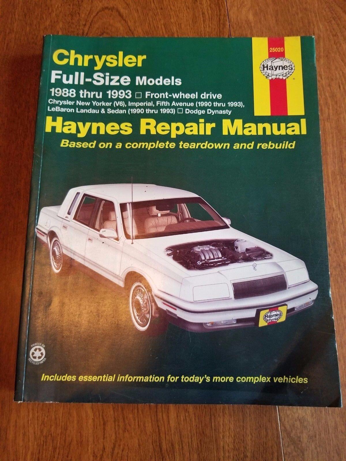 Haynes Repair Manual 25020 CHRYSLER Dodge 1988-1993 FWD LeBaron 5th Ave  Dynasty | eBay