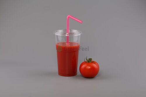 200 x Disposable Smoothie Cups Domed Flat Slot Lids Milkshake Juice Slush Cup