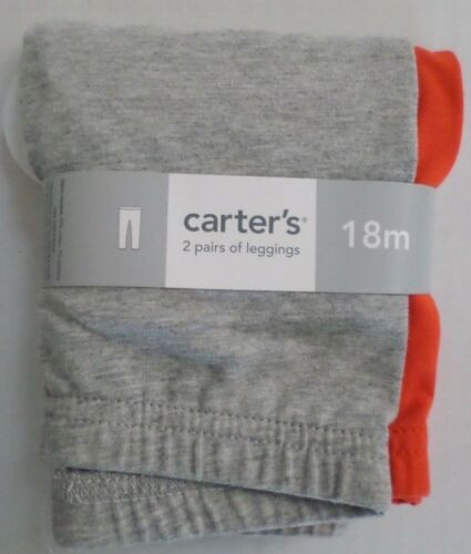 Carter/'s Baby Girls Leggings 2 Pair Cotton//Elastane Gray//Orange Select a Size
