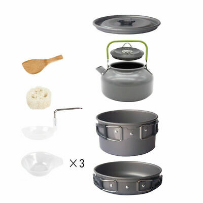 Outdoor Camping 2-3 Person Cookware Tableware Picnic Bowl Pot Pan Set Teapot