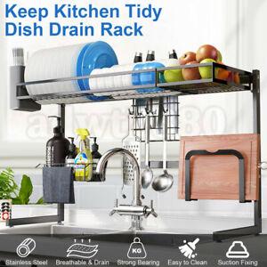 AU-2-Tier-Stainless-Steel-Dish-Drying-Rack-Organizer-Sink-Kitchen-Draining-85CM