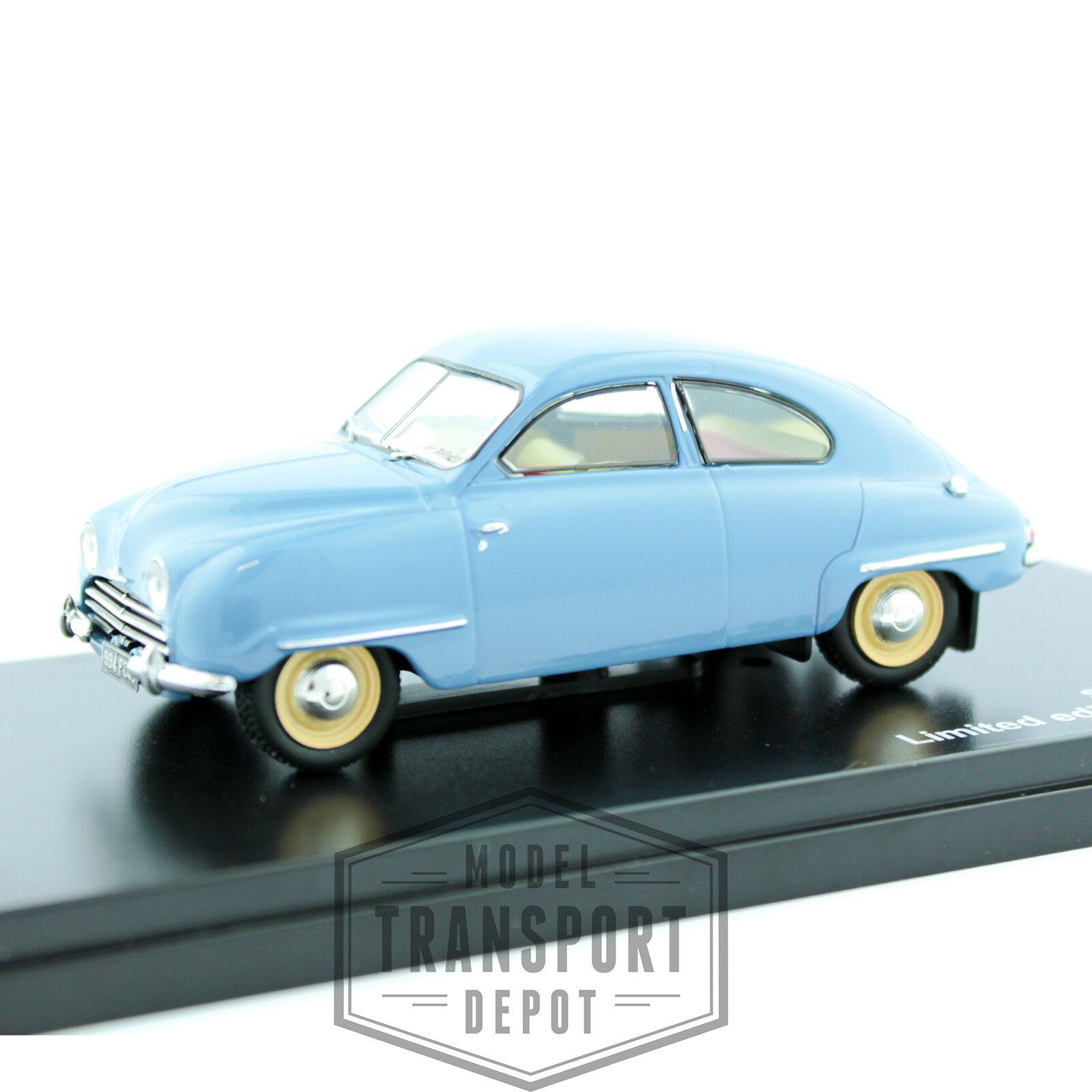 Triple 9 Saab 92b 1954 azul claro coche modelo escala miniatura 1 43 Nuevo Y En Caja T9-43057