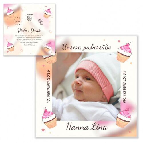 Außergewöhnliche Geburtskarte Dankeskarte Mädchen süß Text änderbar Baby Foto!!