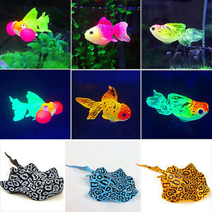 Glowing goldfish floating stingray aquarium ornament for Fake fish tank with moving fish