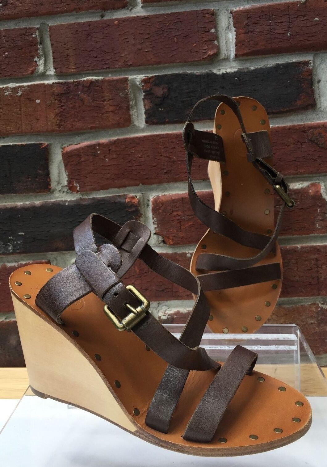 200 ASH Tatiana Platform Brown Leather Wood Wedge Strap Sandals 36 6