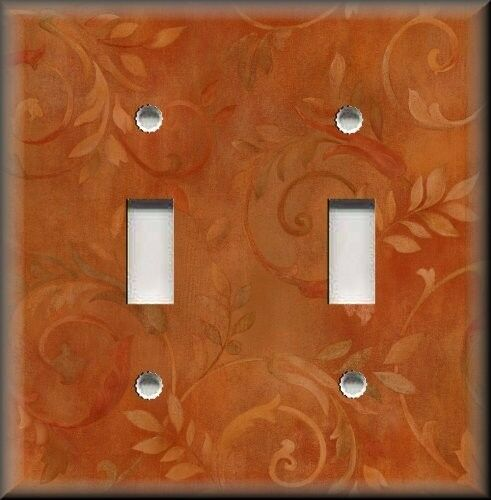 Metal Light Switch Plate Cover - Wispy Floral Branches Orange Home Decor Floral