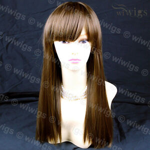 Silky-Long-Heat-Resistant-Straight-Ladies-Wigs-Light-Chestnut-Brown-WIWIGS-UK