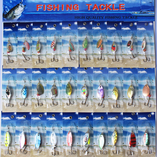30x Unique design New Metal SpinnerBaits Fishing Spoon Lures Salmon Bass HU