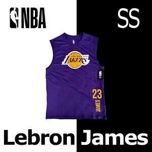 "LEBRON JAMES ""23"" NBA SLEEVELESS SHIRT LOS ANGELES LAKERS TANK PURPLE GOLD BLACK"