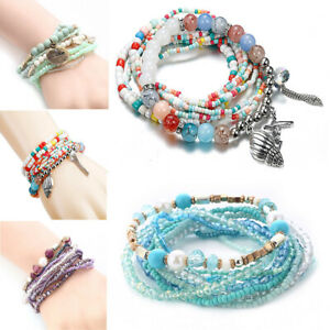 Boho-Women-Beads-Multi-layer-Silver-Shell-Pendant-Bangle-Wrap-Bracelet-Jewelry