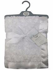 Baby Rosebud Blanket Wrap Shawl Satin Trim Soft Touch (White)