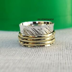 Solid-925-Sterling-Silver-Spinner-Ring-Wide-Band-Meditation-Statement-Jewelry-a6