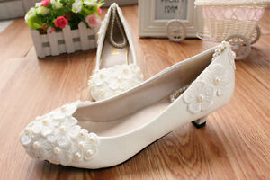 White lace Wedding shoes pearls ankle trap Bridal flats low high ... 30ed76eea6d6