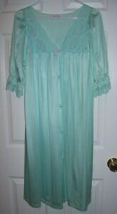 Details zu Vanity Fair Women Robe M All Nylon Button Up Short Sleeve Teal